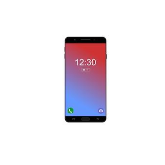 Zwarte kleur moderne telefoon met witte achtergrond