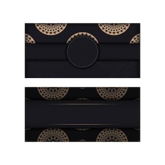 Zwarte kleur wenskaart met bruin abstract ornament