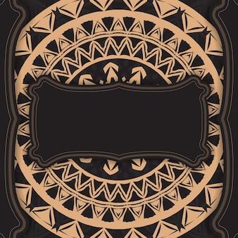 Zwarte kleur wenskaart met bruin abstract patroon