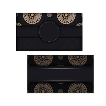 Zwarte kleur wenskaart met bruin indisch ornament