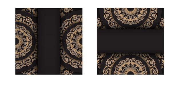 Zwarte kleur wenskaartsjabloon met bruin indiaas patroon