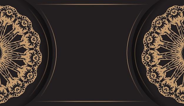 Zwarte kleur wenskaartsjabloon met bruin indisch ornament