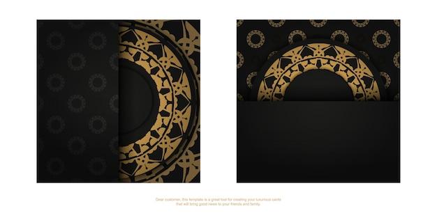 Zwarte kleurenbrochure met bruin indiaas ornament