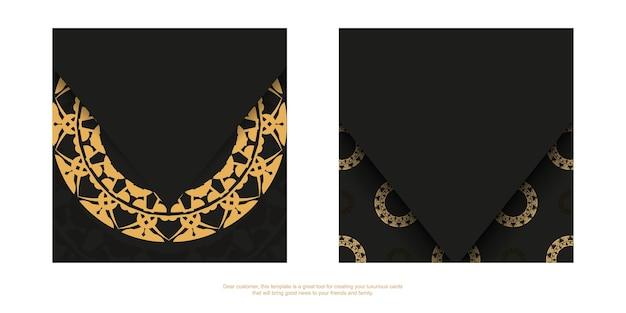 Zwarte kleurenbrochure met bruin indiaas patroon