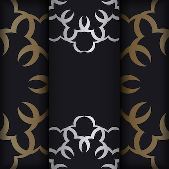 Zwarte kleurenbrochure met gouden luxe versieringen