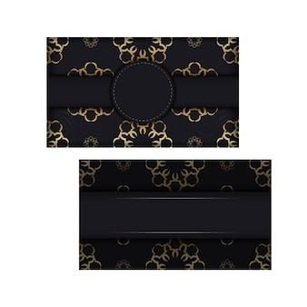 Zwarte kleurenbrochure met gouden vintage ornament