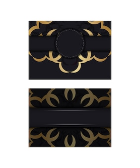Zwarte kleurenflyer met gouden mandalapatroon