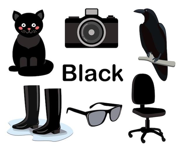 Zwarte kleurenset. de collectie omvat een kat, een bureaustoel, rubberen laarzen, een raaf, een camera, een bril.