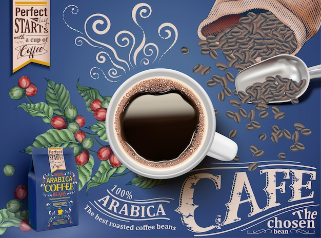 Zwarte koffie advertenties, bovenaanzicht van illustratie zwarte koffie met retro gravure koffiebessen en bonen elementen, blauwe verpakking en achtergrond