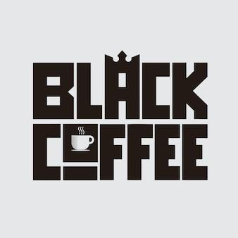 Zwarte koffie letterng conceptontwerp