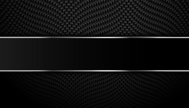 Zwarte koolstofvezel met metalen lijnen achtergrond