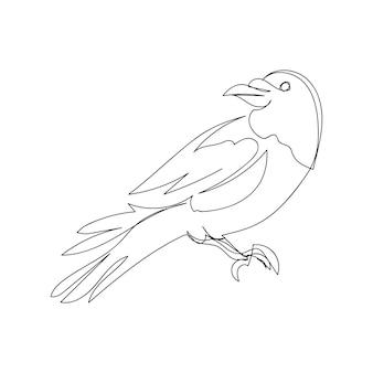 Zwarte kraai één lijntekeningen doorlopende lijntekening van halloween thema gotische ornithologie vogel