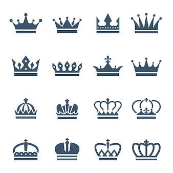 Zwarte kronen pictogrammen of symbolen