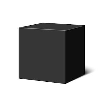Zwarte kubus. doos. illustratie.