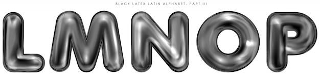Zwarte latex opgeblazen alfabetsymbolen, geïsoleerde letters lmnop