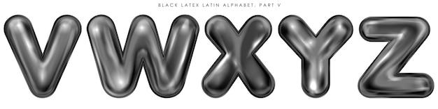 Zwarte latex opgeblazen alfabetsymbolen, geïsoleerde letters vwxyz