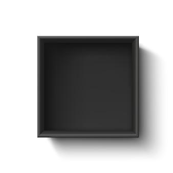 Zwarte lege doos, container op witte achtergrond. bovenaanzicht. sjabloon voor uw presentatie, banner, brochure of poster. illustratie.