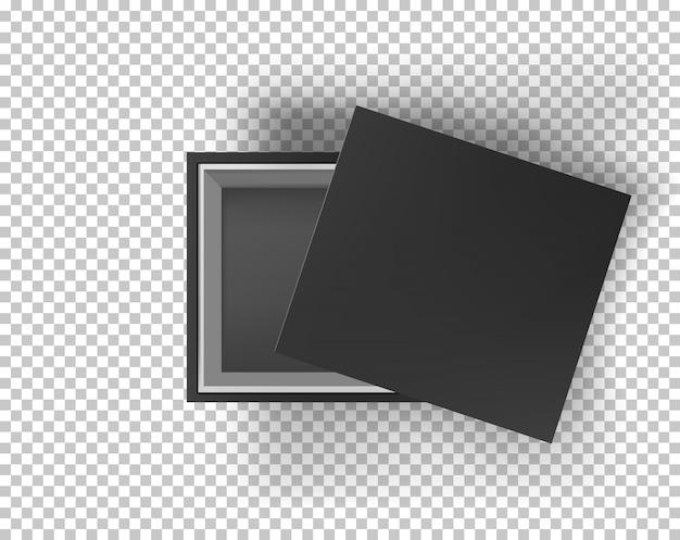 Zwarte lege doos mock up op transparant