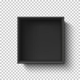 Zwarte lege doos op transparante achtergrond. bovenaanzicht. sjabloon voor uw presentatieontwerp, banner, brochure of poster.
