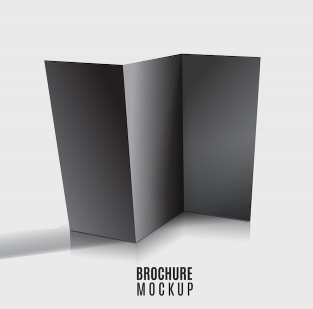 Zwarte lege gevouwen brochure ontwerp geïsoleerd. mockup-lay-out.