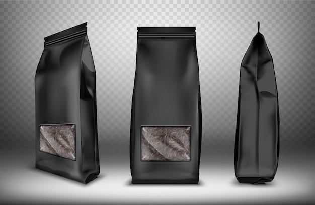 Zwarte lege snackzak in plastic of folie Gratis Vector