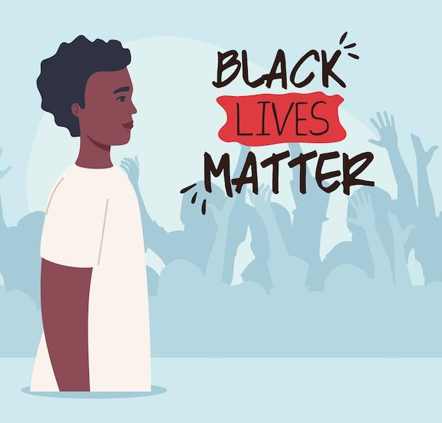 Zwarte levens zijn belangrijk, afrikaanse man met silhouet van protesterende mensen, stop racisme.