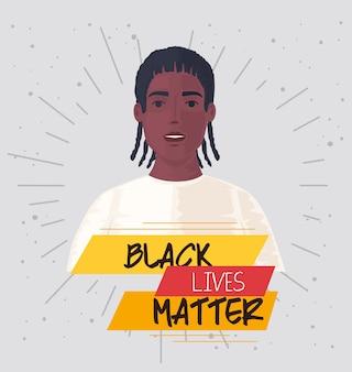 Zwarte levens zijn belangrijk, afrikaanse man, stop racisme.