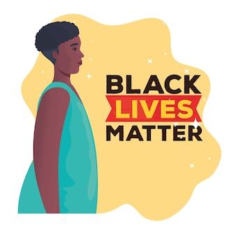 Zwarte levens zijn belangrijk, afrikaanse vrouw in profiel, stop racisme-concept. Premium Vector