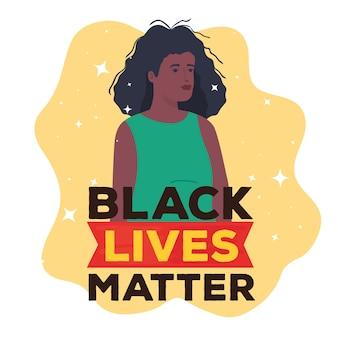 Zwarte levens zijn belangrijk, afrikaanse vrouw, stop racisme-concept.