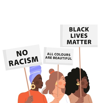 Zwarte levens zijn belangrijk concept illustratie. strijden voor gelijkheid.