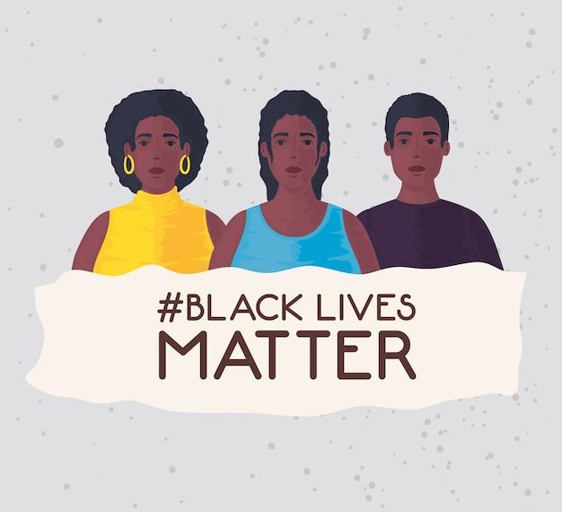 Zwarte levens zijn belangrijk, groep afrikaanse mensen, stop racisme.