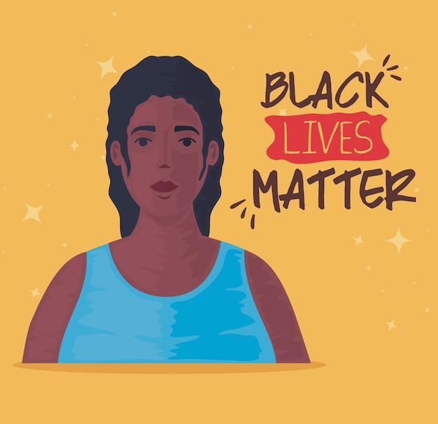 Zwarte levens zijn belangrijk, jonge afrikaanse vrouw, stop racisme-concept.