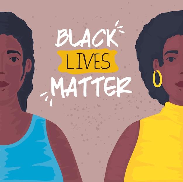 Zwarte levens zijn belangrijk, jonge afrikaanse vrouwen, stop racisme.