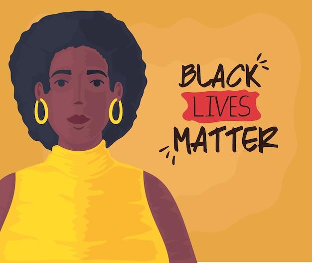 Zwarte levens zijn belangrijk, leuke afrikaanse vrouw, stop racisme-concept.