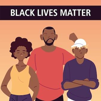 Zwarte levens zijn belangrijk met cartoons van moeder, vader en zoon van protestrechtvaardigheid en racisme-thema-illustratie