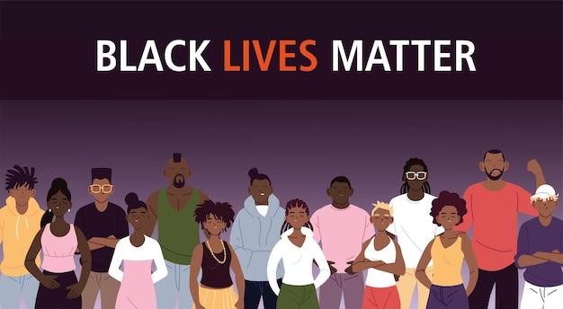 Zwarte levens zijn belangrijk met tekenfilms voor vrouwen en mannen van het thema-illustratie van protestrechtvaardigheid en racisme