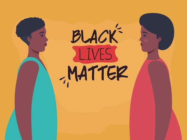 Zwarte levens zijn belangrijk, profiel afrikaanse vrouwen, stop racisme-concept.