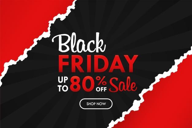 Zwarte lichtstralen gescheurd papier achtergrond met blackfriday-tekst voor weekendpromotie.
