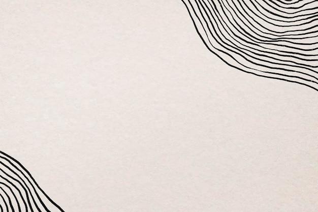 Zwarte lijn achtergrond vector op beige