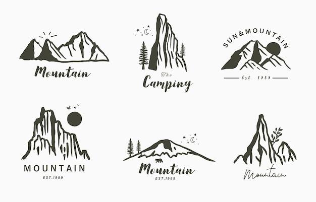 Zwarte lijn natuurlijk landschap met mountainriversuntree