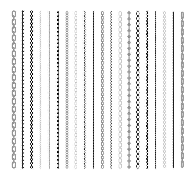 Zwarte lijnen van ketting vlakke afbeelding instellen. kettingslink en grenspatroonborstel geïsoleerde vectorinzameling. verbinding en fashion design elementen concept