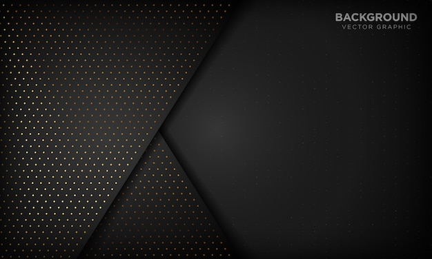 Zwarte luxe abstracte achtergrond met overlappingslagen. textuur met gouden glitters puntelement.