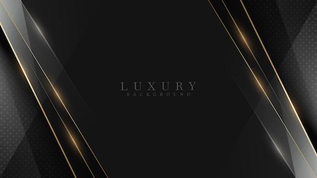 Zwarte luxe achtergrond samen met gouden lijn, technologie minimale scène concept, lege ruimte voor tekst. 3d-vectorillustratie.