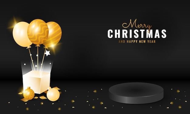 Zwarte luxe prettige kerstdagen en gelukkig nieuwjaar banner met podium en geschenkdoos decoratie