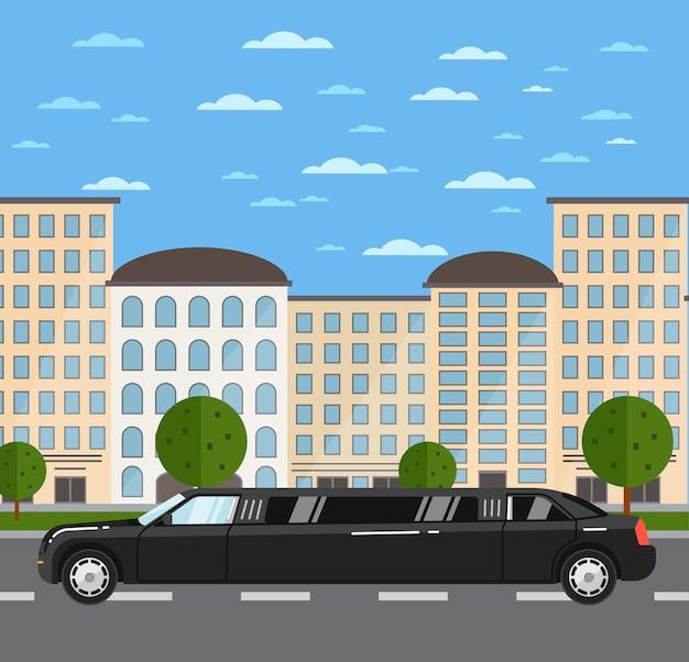 Zwarte luxueuze limousine op weg in stad