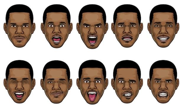 Zwarte man hoofd in verschillende gezichtsuitdrukkingen