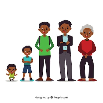 Zwarte man in verschillende leeftijden in de hand getrokken stijl