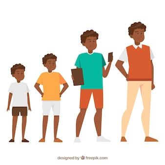 Zwarte man in verschillende leeftijden in vlakke stijl