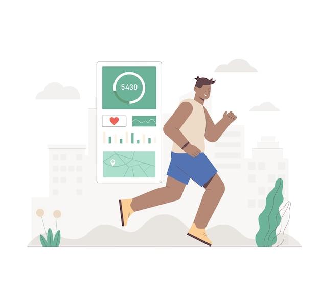 Zwarte man met fitnessband of tracker die in het stadspark op stadsachtergrond loopt