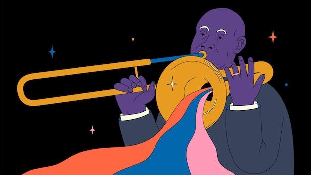 Zwarte man speelt op een trompet jazzmuzikant